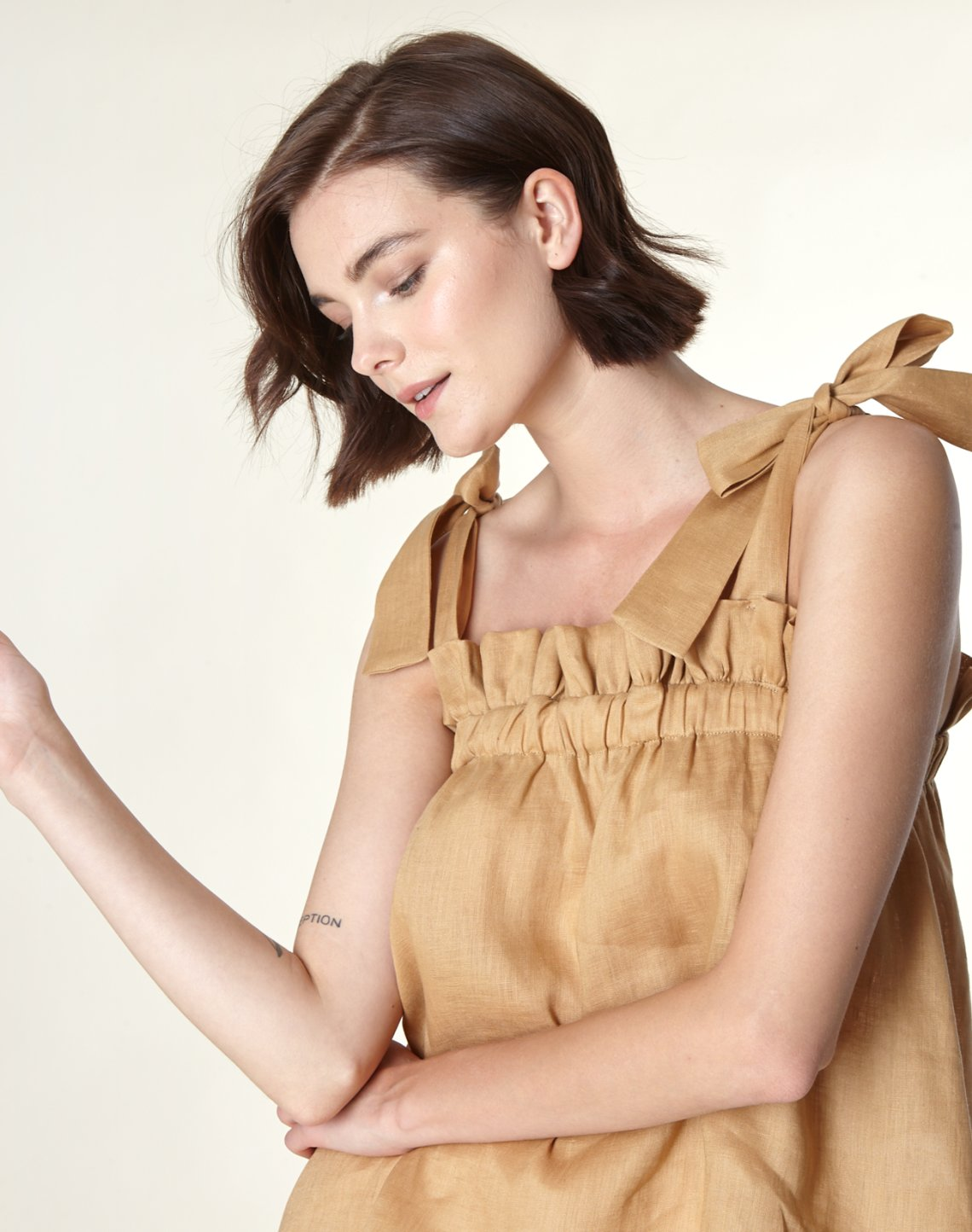 Linen top with pleating detail