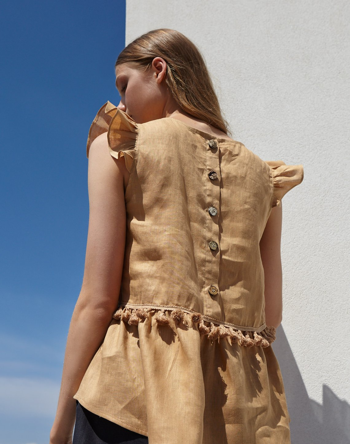 Linen top with tassels