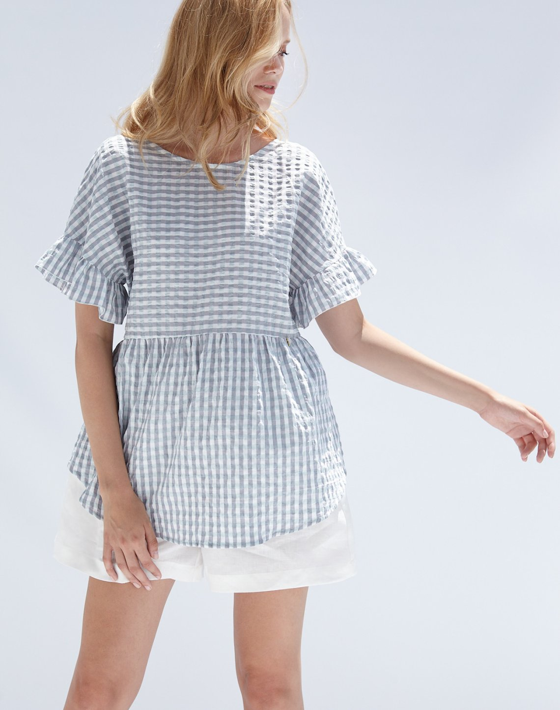 Check top with ruffles