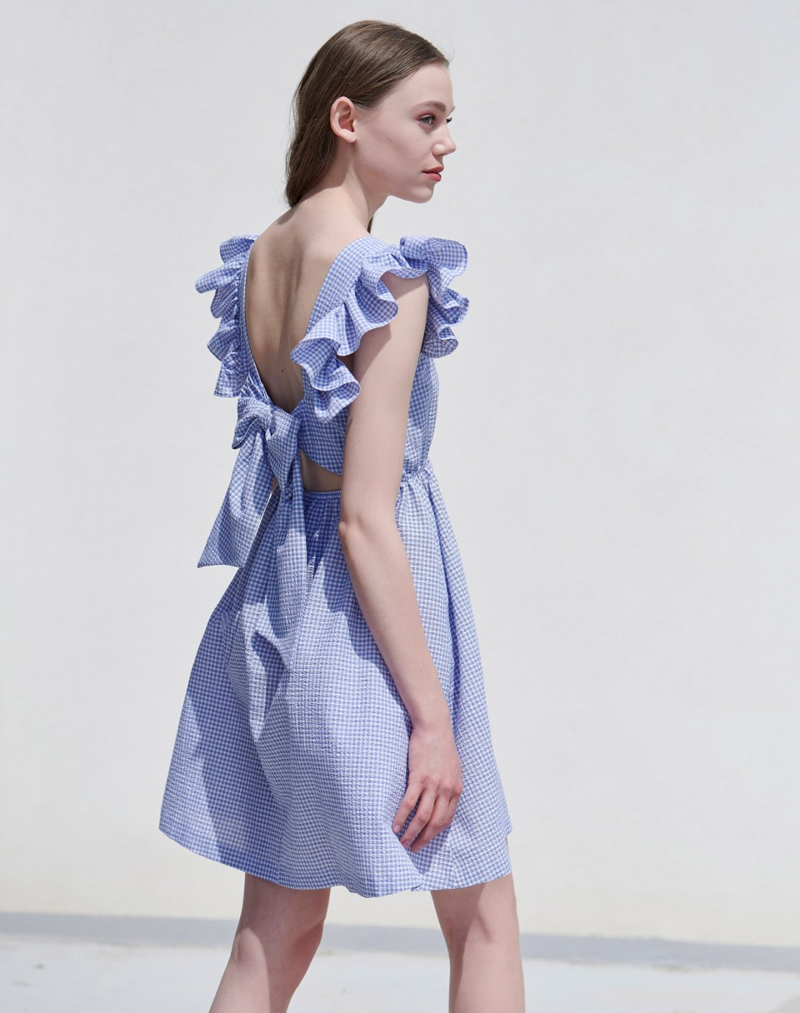 Mini gingham check dress with bow