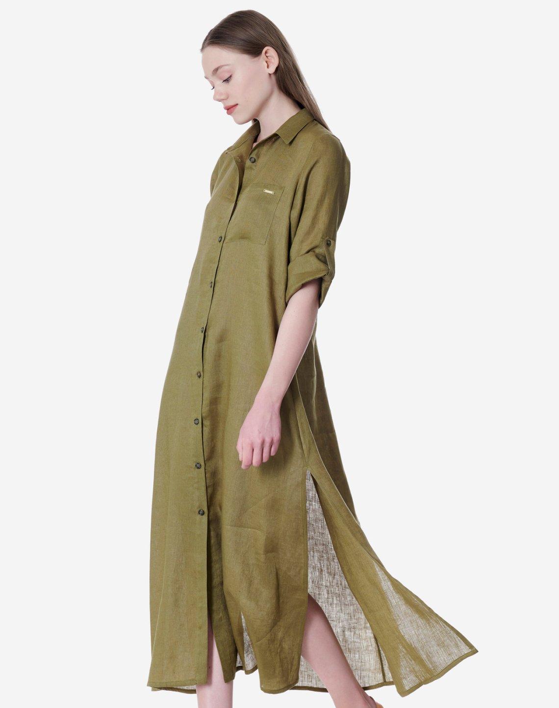 Λινό φόρεμα πουκαμίσα