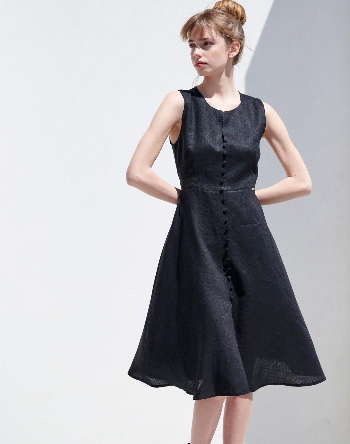 Λινό μίντι φόρεμα με κουμπιά