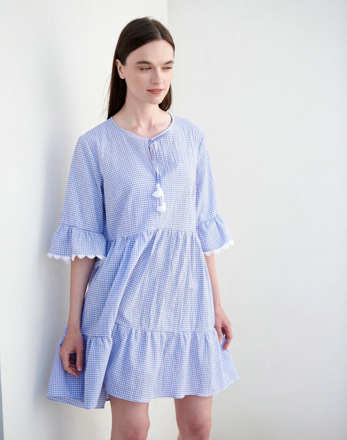 Μίνι καρό φόρεμα με βολάν