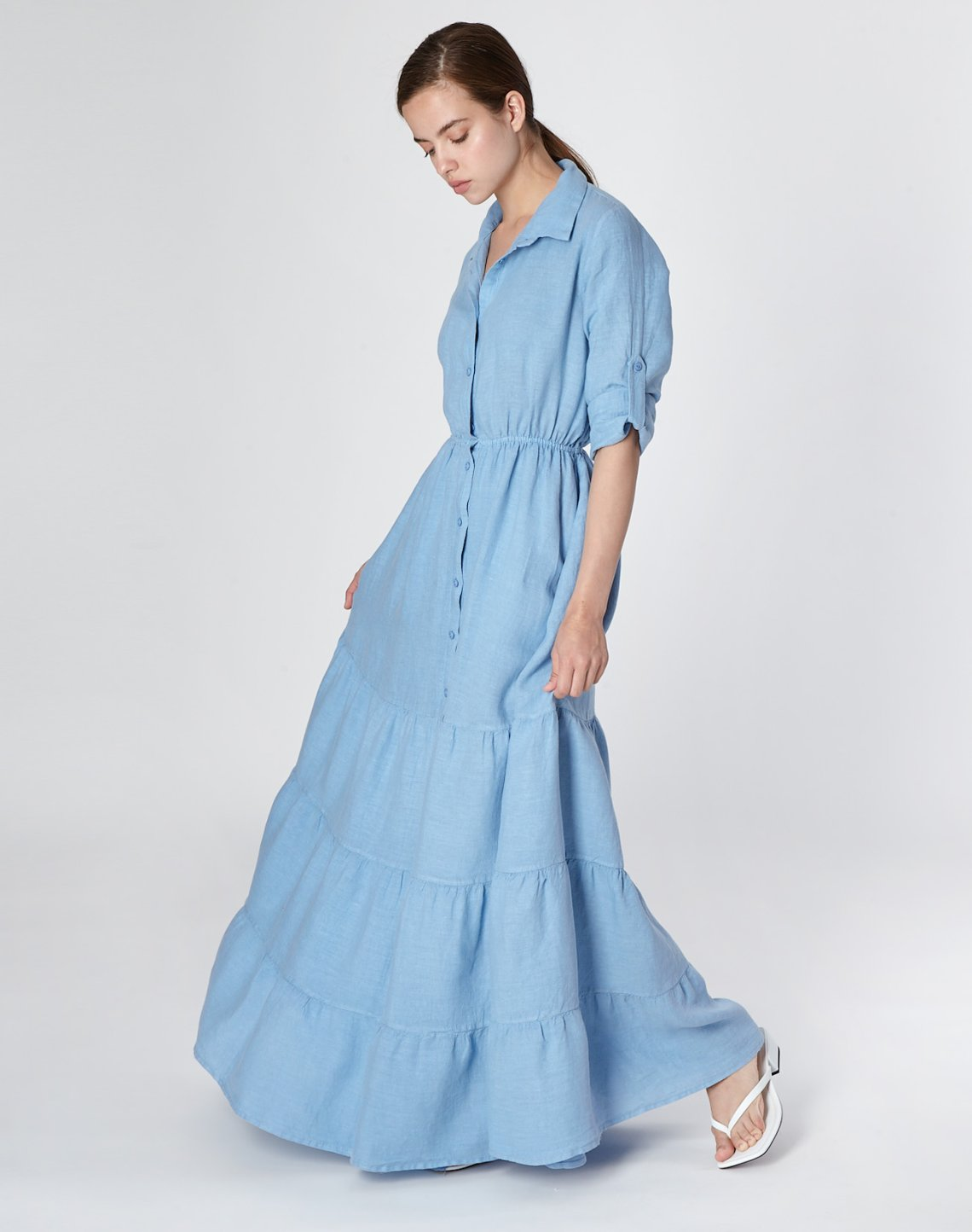 Linen shirt dress with ruffles