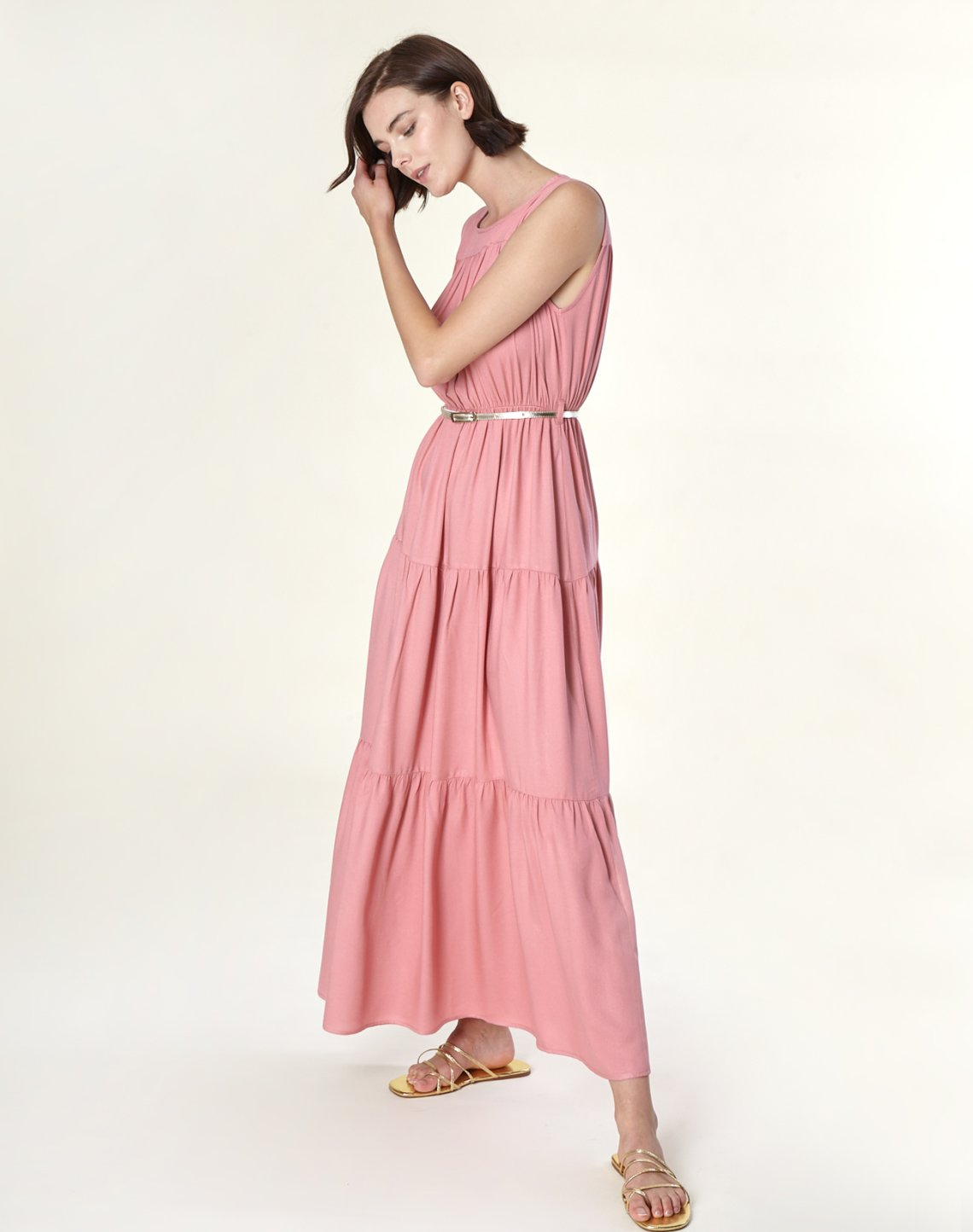 Maxi dress with pleating detail
