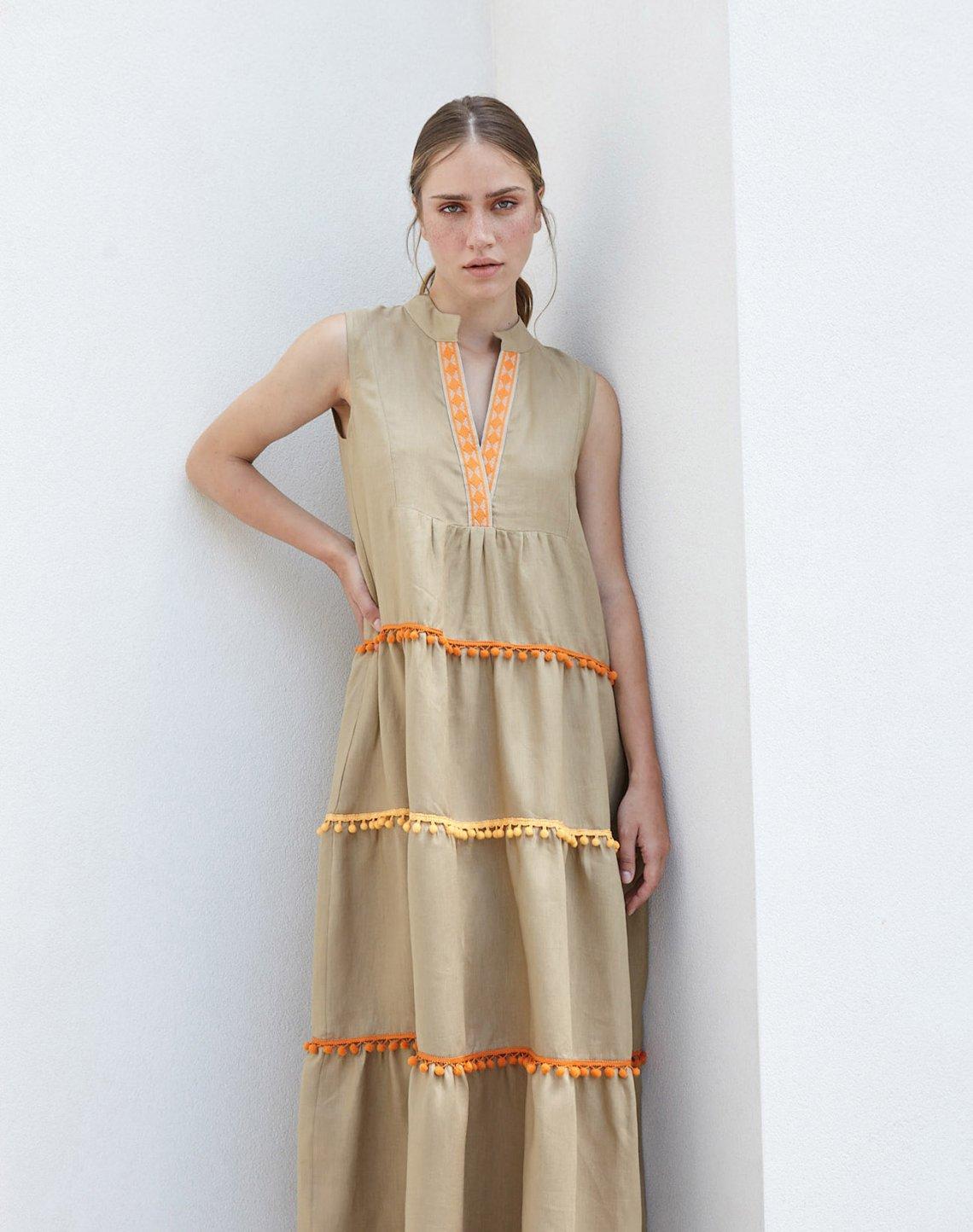 Linen maxi dress with pom poms