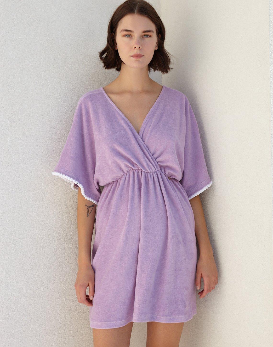 Mini towel dress with pom poms