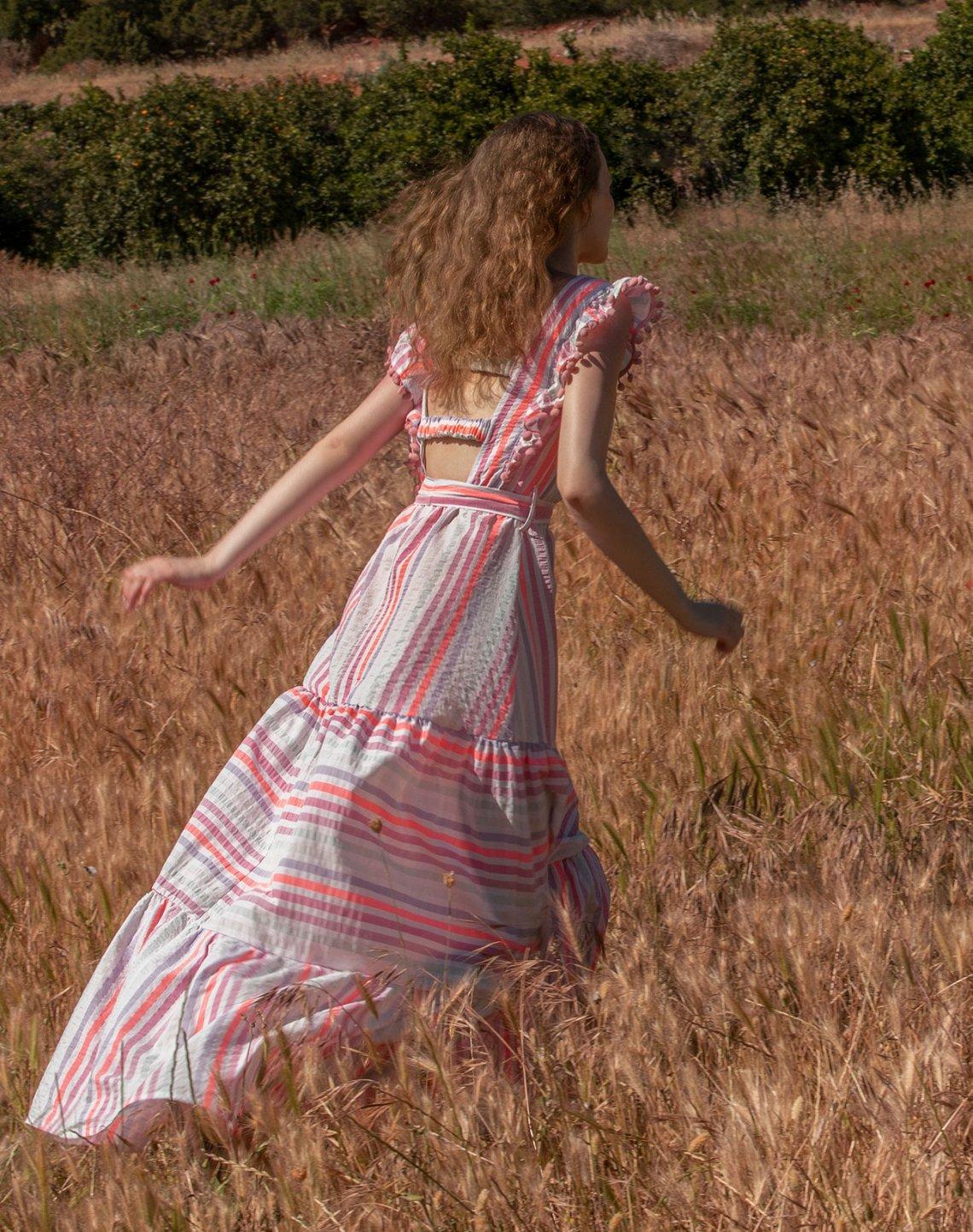 Ριγέ μάξι φόρεμα με πον πον