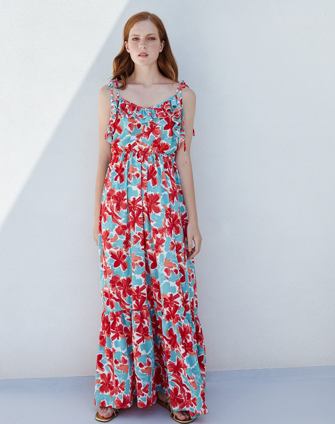 Printed maxi dress with tie straps