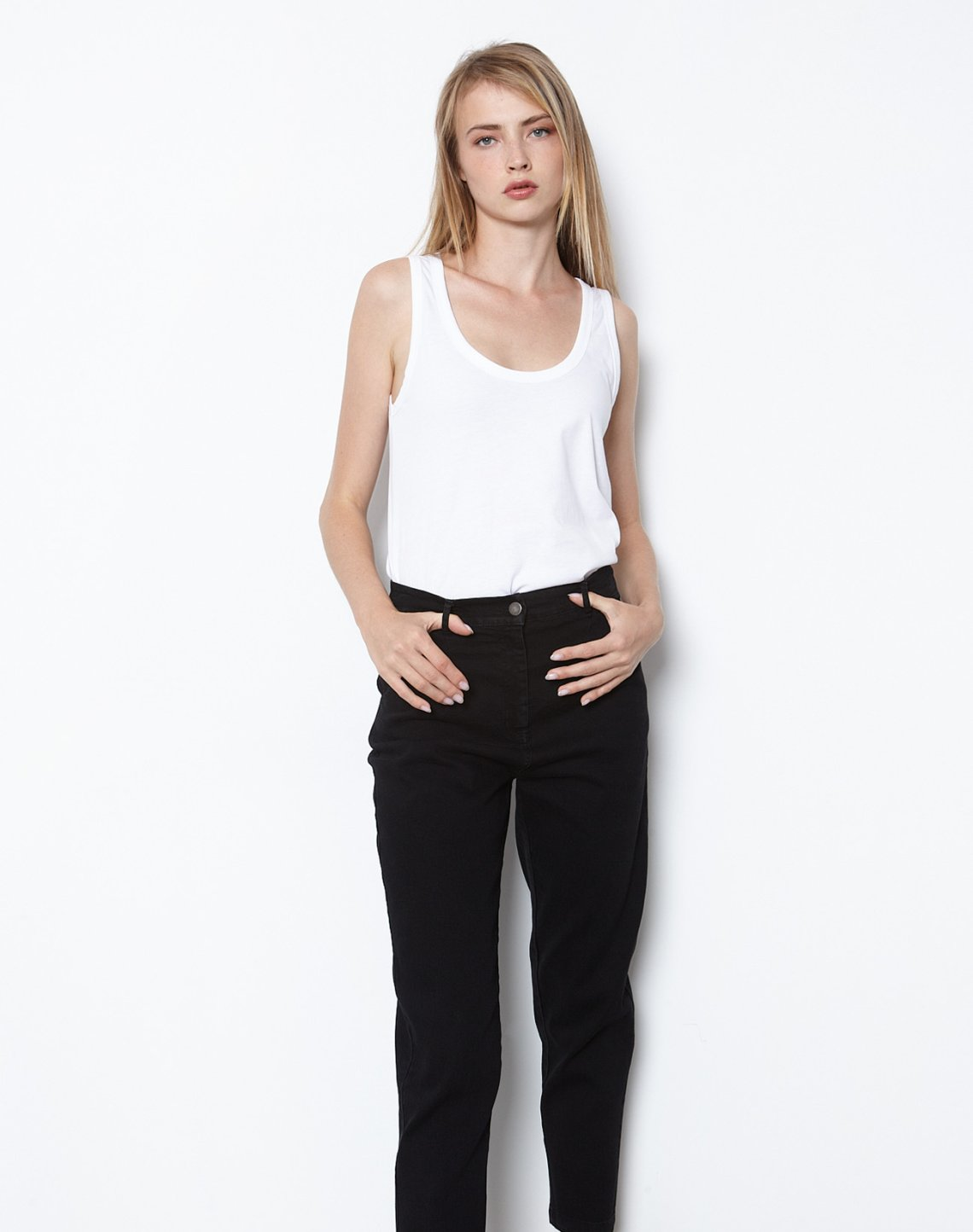 High waist jeans with pleating detail