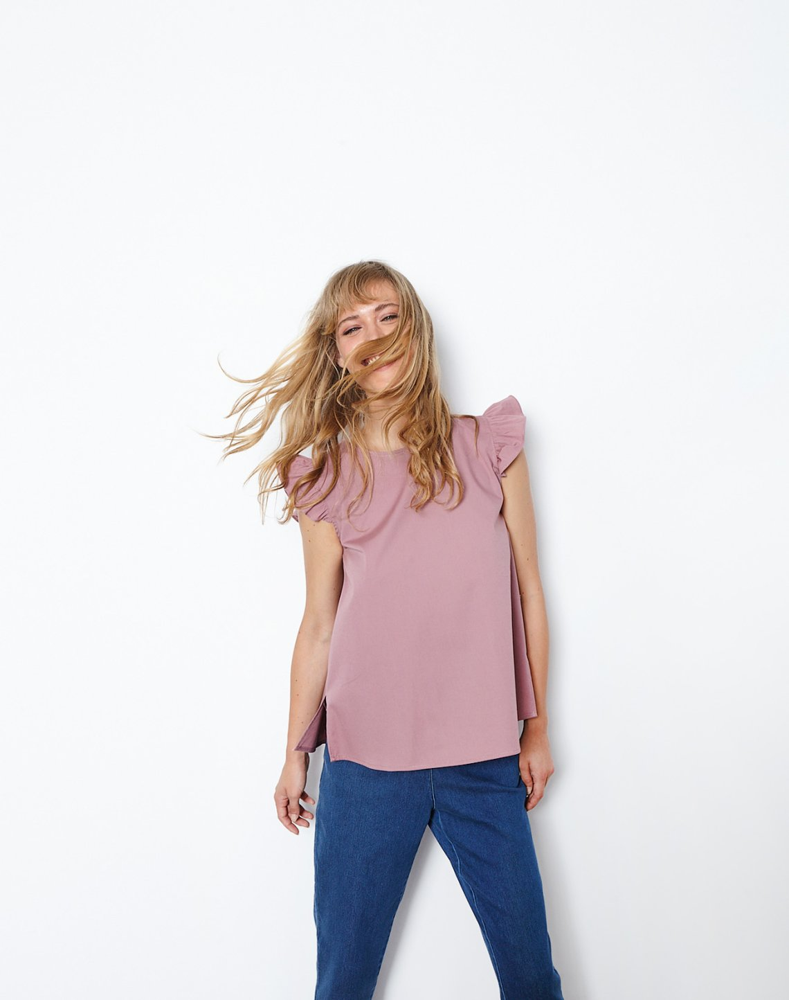 Top with ruffles and buttons