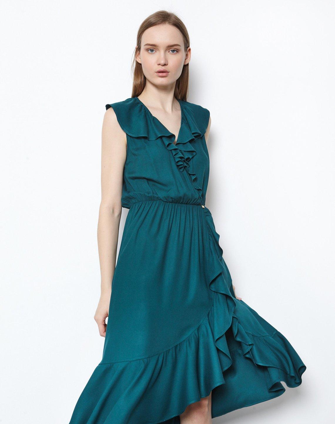 Μίντι φόρεμα με βολάν