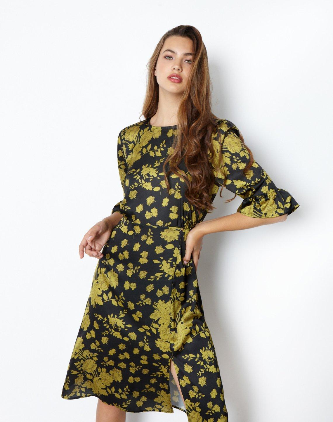 Μίντι εμπριμέ φόρεμα